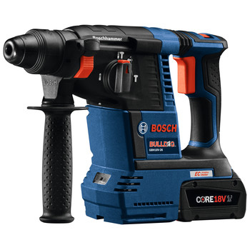 Factory Reconditioned Bosch GBH18V-26K24-RT 6.3 Ah Cordless Lithium-Ion Brushless 1 in. SDS-Plus Bulldog Rotary Hammer Kit image number 2