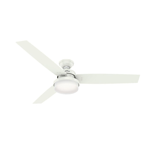 Hunter 59456 60 in. Sentinel Fresh White Ceiling Fan with Light with Handheld Remote