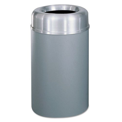 Rubbermaid AOT30SAGRPL Crowne Collection 30-Gallon Aluminum/Steel Open Top Receptacle (Silver/Gray)