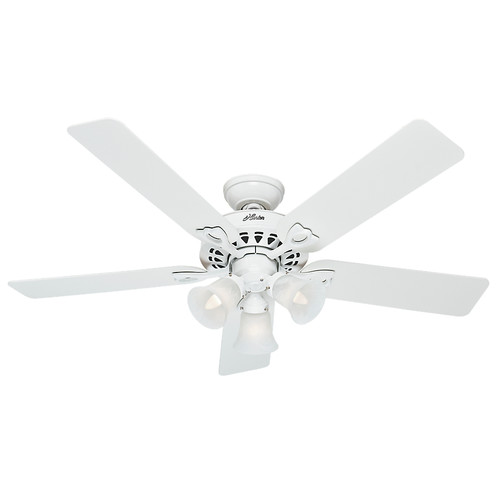 Hunter 53114 52 In Sontera White Ceiling Fan With Light Handheld Remote