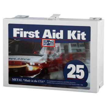 Pac-Kit 6086 25-Person Steel (Non-gasketed), Wall Mount Industrial First Aid Kits