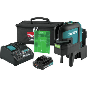 Makita SK106GDNAX 12V max CXT Lithium-Ion Cordless Self-Leveling Cross-Line/4-Point Green Beam Laser Kit (2 Ah) image number 0