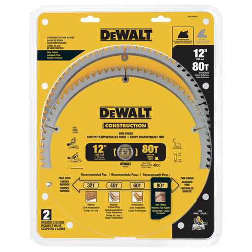 Dewalt DW3128P5D80I Series 20 12 in. 80 Tooth Saw Blade (2-Pack)