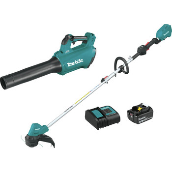 Makita XT286SM1 18V LXT Lithium-Ion Brushless Cordless Blower / String Trimmer Combo Kit (4 Ah)