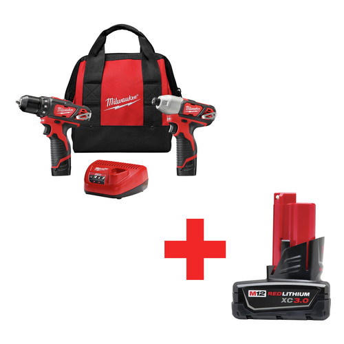 Milwaukee 2494-22B M12 12V Cordless Lithium-Ion Drill and Impact Driver Combo Kit with BONUS M12 XC 12V 3.0 Ah Lithium-Ion Battery Pack