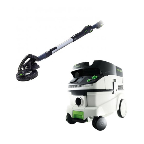 Festool LHS 225 Planex Drywall Sander with CT 26 E 6.9 Gallon HEPA Dust Extractor