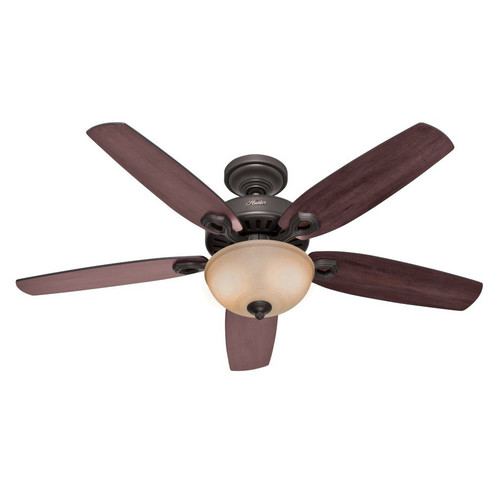 Hunter 53091 52 in. Builder Deluxe New Bronze Ceiling Fan with Light