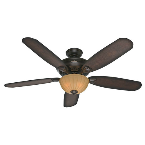 Hunter 53255 56 in. Markley Onyx Bengal Ceiling Fan with Light