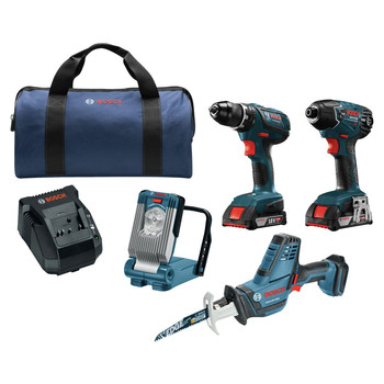 Factory Reconditioned Bosch CLPK496A-181-RT 18V Lithium-Ion 4-Tool Cordless Combo Kit (2 Ah)