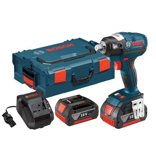 Bosch IWBH182-01L 18V Cordless Lithium-Ion 1/2 in. Pin Detent Brushless Impact Wrench Kit with L-BOXX 2 Case