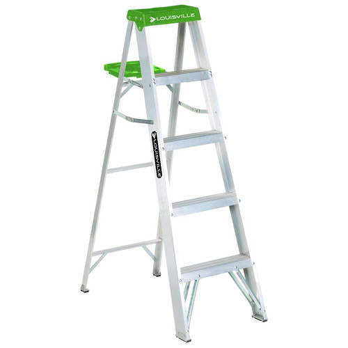 Louisville AS4005 5 ft. Type II Duty Rating 225 lbs. Load Capacity Aluminum Step Ladder with Molded Pail Shelf