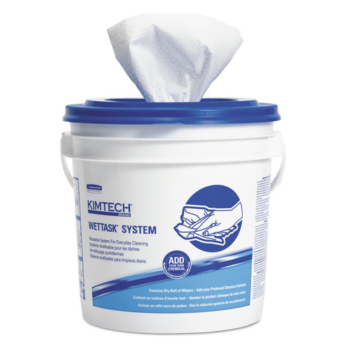 Kimtech 06411 Wettask System-Bleach/disinfectant/sanitizer W/bucket,12x12.5, 90/roll, 6roll/ct image number 0