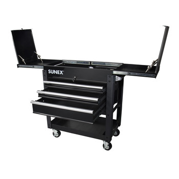 Sunex 8035XTBK 3 Drawer Slide Top Utility Cart with Power Strip (Black) image number 1