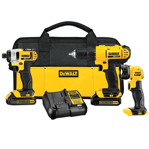 Factory Reconditioned Dewalt DCK340C2R 20V MAX Cordless Lithium-Ion 3-Tool Combo Kit