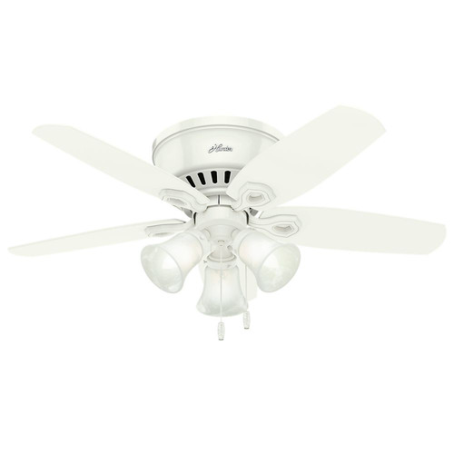 Hunter 51090 42 in. Builder Low Profile Snow White Ceiling Fan with Light