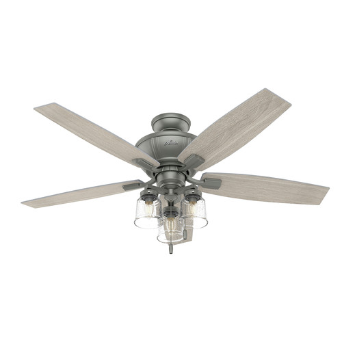 Hunter 50402 52 in. Charlotte Matte Silver Ceiling Fan with LED Light Kit and Pull Chain image number 0