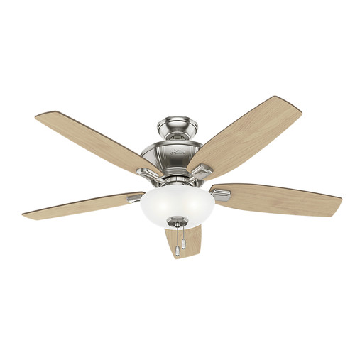 Hunter 53377 52 in. Kenbridge Brushed Nickel Ceiling Fan with Light