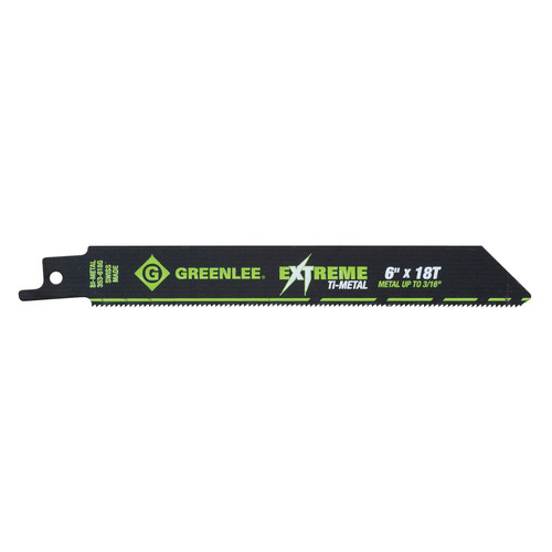 Greenlee 353-618G 6 in. 18 TPI Ti-Metal Reciprocating Saw Blade (5-Pack)