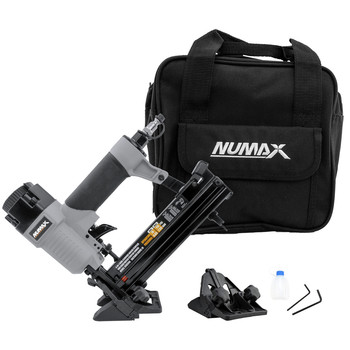 NuMax SFBC940 Pneumatic 4-in-1 18 Gauge 1-5/8 in. Mini Flooring Nailer and Stapler with Canvas Bag