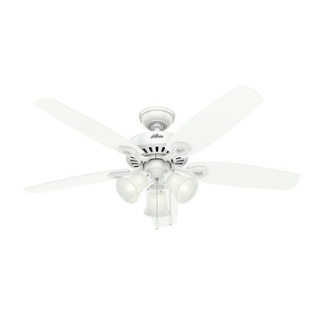 Hunter 53236 52 in. Builder Plus Snow White Ceiling Fan with Light
