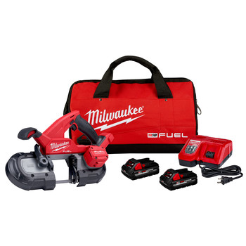 Milwaukee 2829-22 M18 FUEL Lithium-Ion Compact 3-1/4 in. Cordless Band Saw Kit (3 Ah)