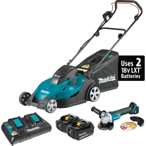 Makita XML02PTX1 18V X2 (36V) Cordless Lithium-Ion 17 in. Lawn Mower Kit with Brushless Angle Grinder