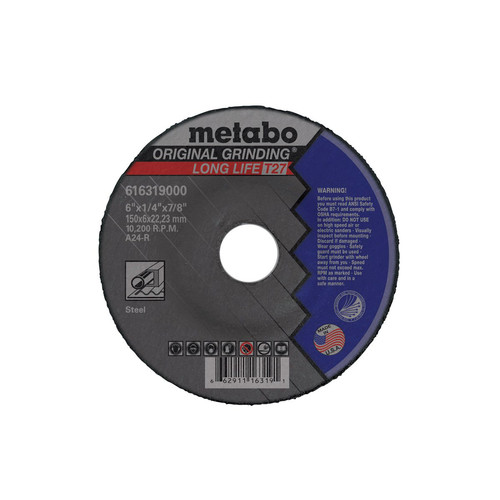 Metabo 655782000-10 7 in. x 1/4 in. A24R Type 27 Depressed Center Grinding Wheels (10-Pack)