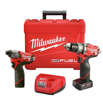 Factory Reconditioned Milwaukee 2597-82 M12 FUEL Li-Ion 1/2 in. Hammer Drill Driver & Impact Driver Combo Kit