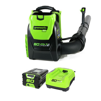 Greenworks 2404802 BPB80L2510 80V Backpack Blower with 2.5 Ah Battery and Charger image number 1