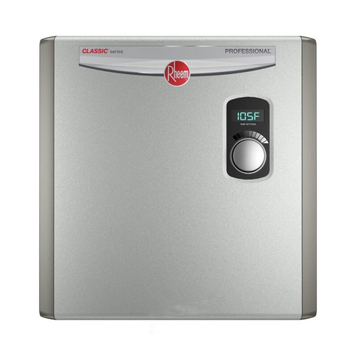Rheem RTEX-24 24kW Electric Tankless Water Heater 240V Ext Adj Temp Ctrl Bot 3/4 in. Npt Con