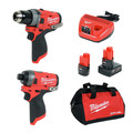 Milwaukee 2598-22 M12 FUEL 2-Tool Combo Kit: 1/2 in. Hammer Drill and 1/4 in. Hex Impact Driver