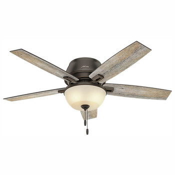 Hunter 53342 52 in. Donegan Onyx Bengal Ceiling Fan with Light