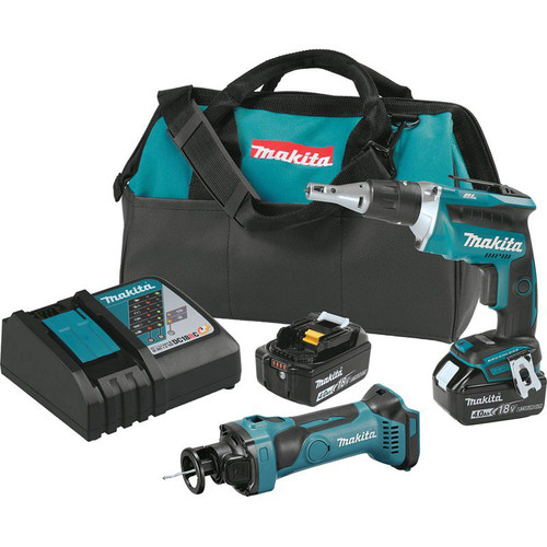 Makita XT255MB 18V LXT 4.0 Ah Cordless Lithium-Ion Brushless Drywall Screwdriver and Cut-Out Tool Combo Kit