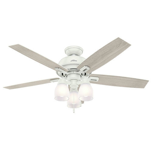 Hunter 53337 52 in. Donegan Fresh White Ceiling Fan with Light
