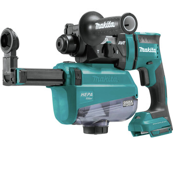 Makita XRH12ZW 18V LXT Lithium-Ion Brushless 11/16 in. AVT SDS-PLUS AWS Capable Rotary Hammer with HEPA Dust Extractor (Tool Only) image number 1