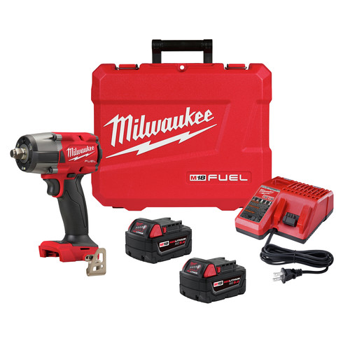 Milwaukee 2962-22 M18 FUEL Lithium-Ion Brushless Mid-Torque 1/2 in. Cordless Impact Wrench Kit with Friction Ring (5 Ah) image number 0