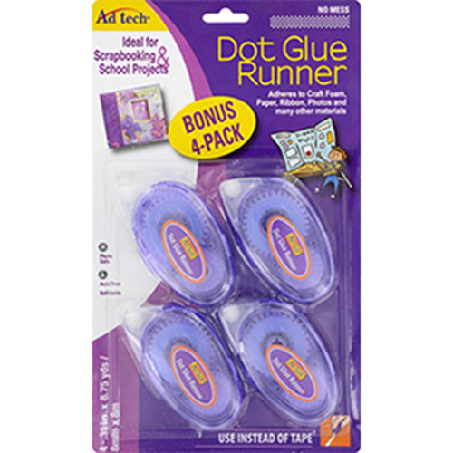 AdTech 05600 Dry Adhesives 4pk Dot Glue Runner .31-in x .315-in