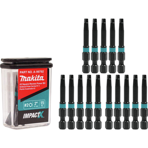 Makita A-99792 Makita ImpactX #2 Square Recess in. Power Bit, 15/pk