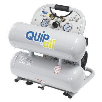 Quipall 4-1-SILTWN-AL Ultra Quiet 1 HP 4.6 Gallon Oil-Free Twin Stack Air Compressor