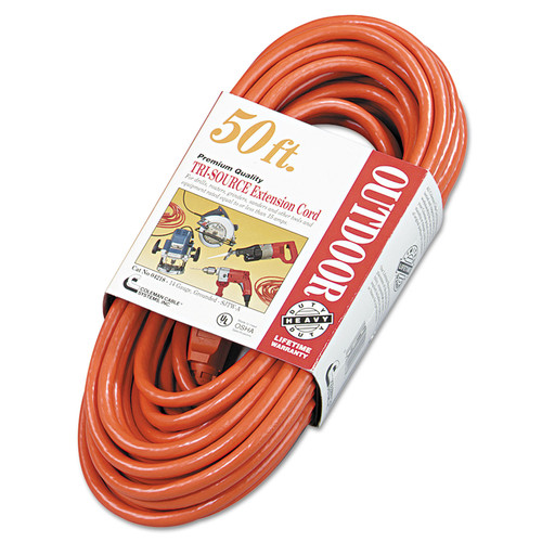Coleman Cable 4218SW8804 50 ft. Vinyl 3-Outlet Outdoor Extension Cord (Orange)