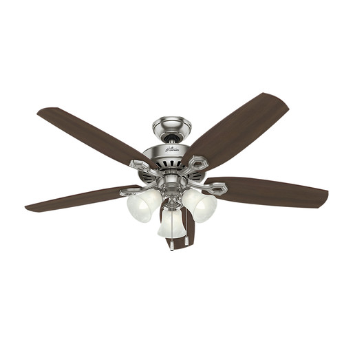 Hunter 53237 52 in. Builder Plus Brushed Nickel Ceiling Fan with Light