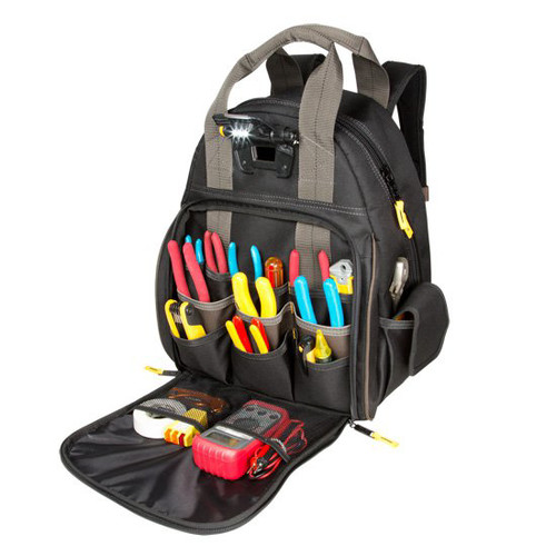 CLC L255 Tech Gear 53-Pocket Dual Compartment LED Lighted Tool Storage Backpack