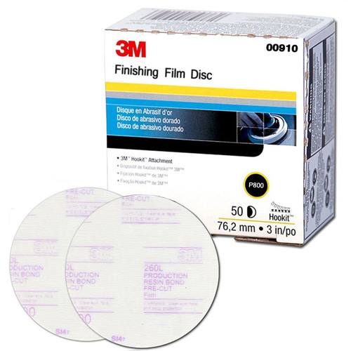 3M 910 Hookit Finishing Film Disc, 3 in., P800 (50-Pack)