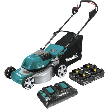 Makita XML03PT1 18V X2 (36V) LXT Lithium-Ion Brushless 18 in. Lawn Mower Kit with 4 Batteries (5.0Ah)