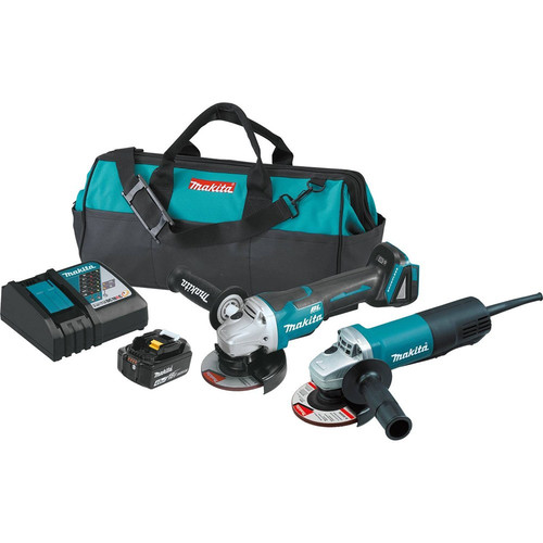 Makita DK0061MX1 18V LXT Cordless Lithium-Ion 4-1/2 in. Paddle Switch Angle Grinder and Corded Angle Grinder Kit