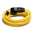 Century Wire D18012100 PowerTech 20 Amp 12/3 AWG GFCI Extension Cord with Adapter - 100 ft. (Yellow)