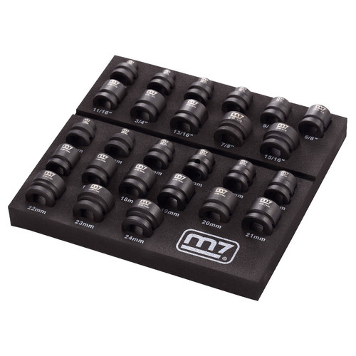 m7 Mighty Seven MA42026 26-Piece 1/2 in. Drive SAE/Metric Stubby Impact Socket Set