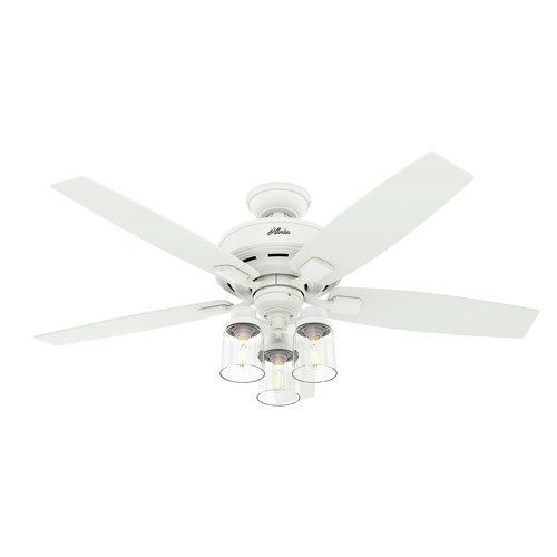 Hunter 50281 52 in. Bennett Matte White Ceiling Fan with LED 3-Light Kit and Remote image number 0