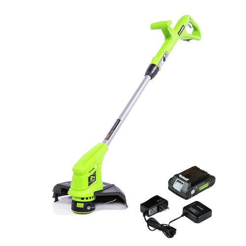 Greenworks 2101902 ST24B211 24V/10 in. Brushed String Trimmer with 1-2.0 Ah Battery/Slow Charger