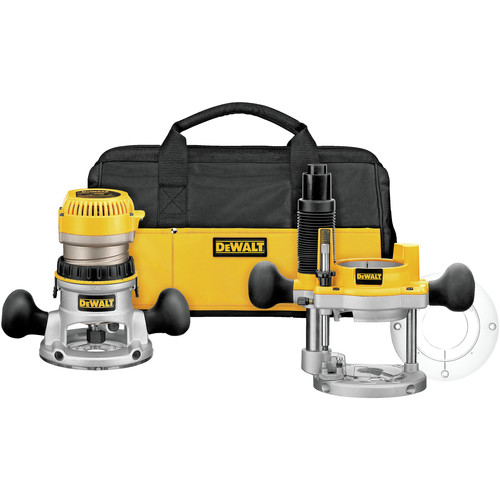 Factory Reconditioned Dewalt DW618PKBR 2-1/4 HP EVS Fixed/Plunge Base Router Combo Kit with Soft Case